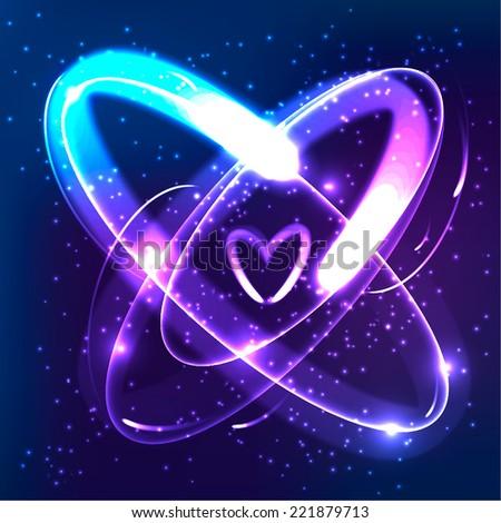 Vector shining neon lights atom model - stock vector