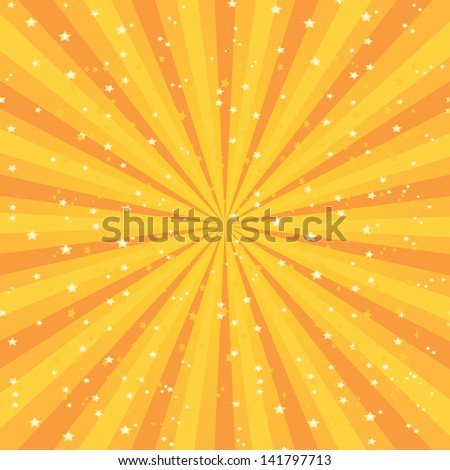 Vector shiny background with ray of light and stars. orange abstract background template for cover or website design. stars background vector - stock vector