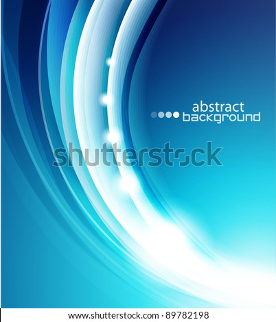 Vector shiny blue wave abstract background - stock vector