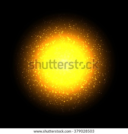 Vector shiny bright sun.On dark background.Cosmic illustration.Vector sun. - stock vector