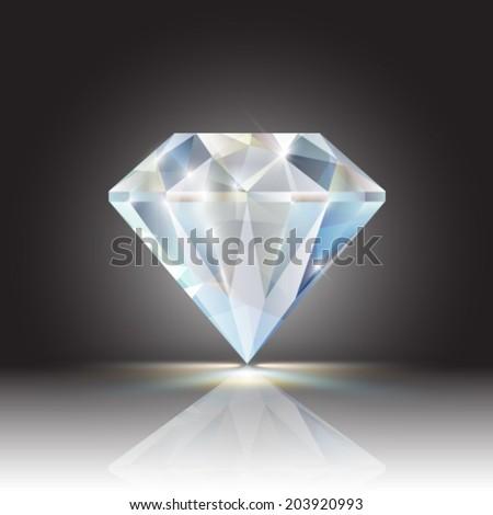 Vector shiny diamond illustration - stock vector