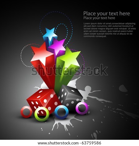 vector shiny dice in beautiful background - stock vector