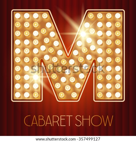 Vector shiny gold lamp alphabet in cabaret show style. Letter M - stock vector