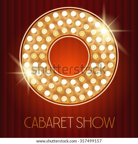 Vector shiny gold lamp alphabet in cabaret show style. Letter O - stock vector