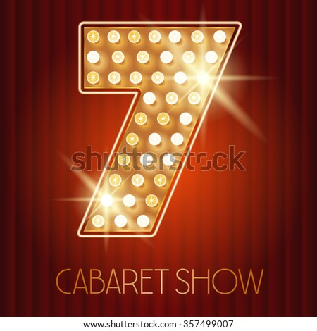 Vector shiny gold lamp alphabet in cabaret show style. Number 7 - stock vector