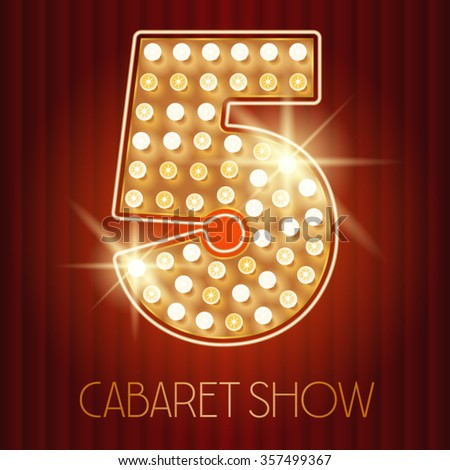 Vector shiny gold lamp alphabet in cabaret show style. Number 5 - stock vector