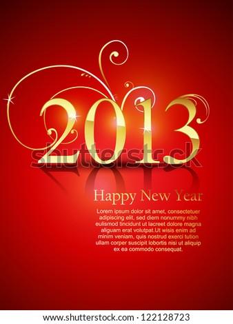 vector shiny happy new year design - stock vector