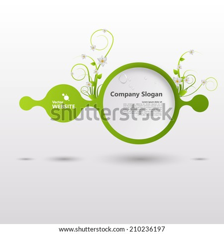 Vector shiny speech bubble with green elements  - stock vector