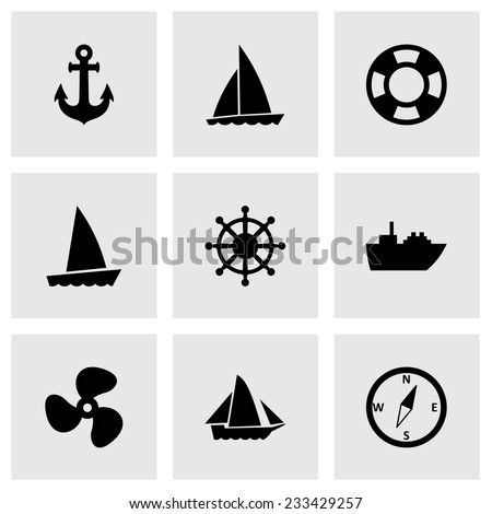 Vector ship and boat icon set on grey background - stock vector