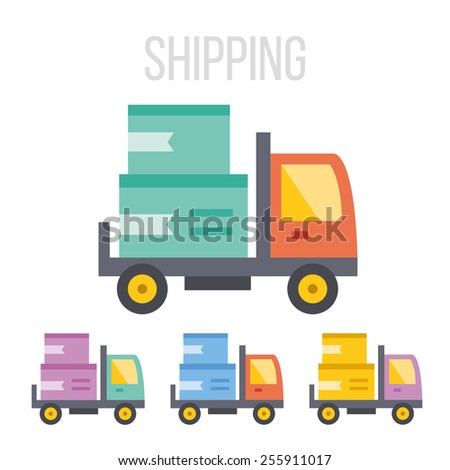 Vector shipping truck icons set. Isolated on white background. - stock vector