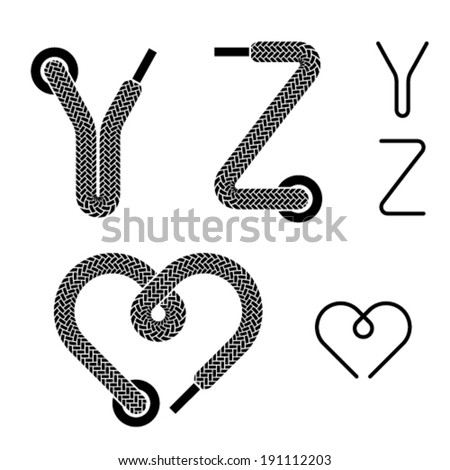 vector shoe lace alphabet letters Y Z heart - stock vector