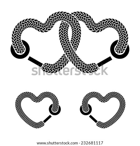 vector shoelace linked hearts black white symbols - stock vector