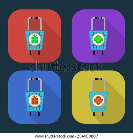 Vector shopping basket icon. part 5 - stock vector
