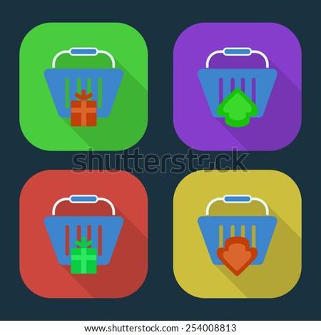 Vector shopping basket icon. part 2 - stock vector