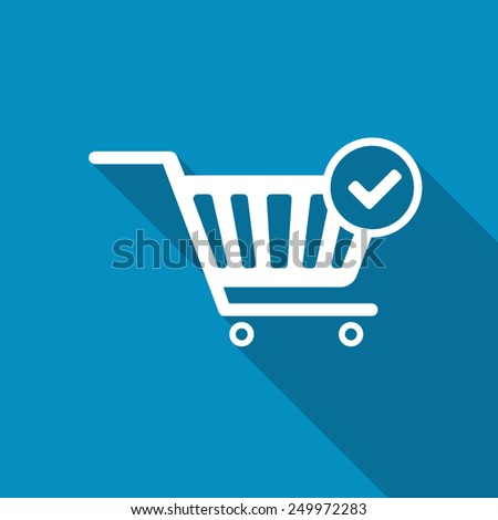 Vector Shopping Cart and Check Mark Icon. Modern design flat style icon with long shadow effect - stock vector