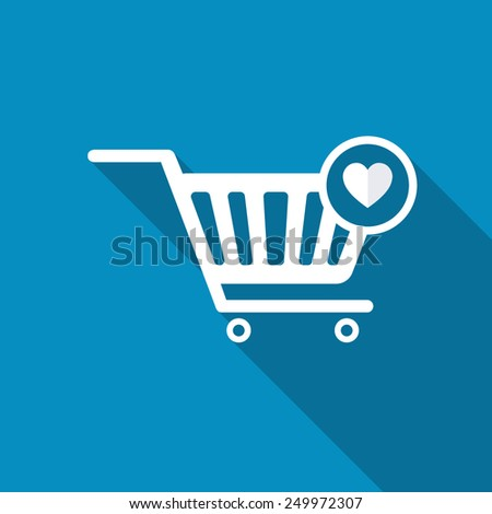 Vector Shopping Cart and Heart Shape Sign Icon, favorite symbol. Modern design flat style icon with long shadow effect - stock vector