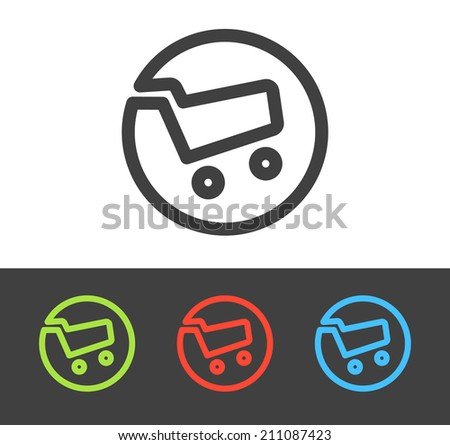 Vector shopping cart icon set, line and flat design - stock vector