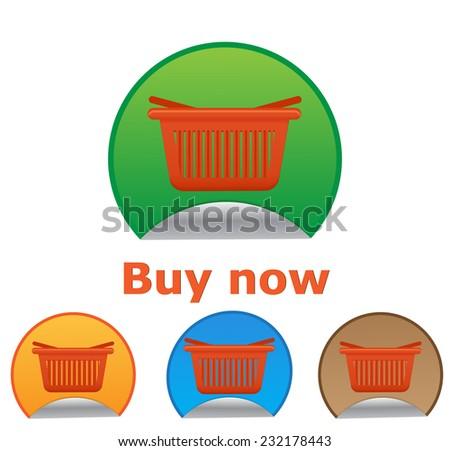 Vector shopping cart item - buy now buttons - stock vector