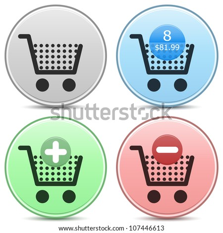 """Vector shopping cart trolley icon matte button set. Includes """"empty cart"""", """"filled cart"""" with item count and valuation, """"add to cart"""" and """"remove from cart"""" icons. EPS10. - stock vector"""