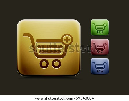 vector shopping icon set, includes four color versions for your web colour design used. - stock vector
