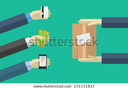 Vector shopping icons in flat style. order, pay, deliver. - stock vector