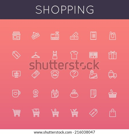 Vector Shopping Line Icons - stock vector