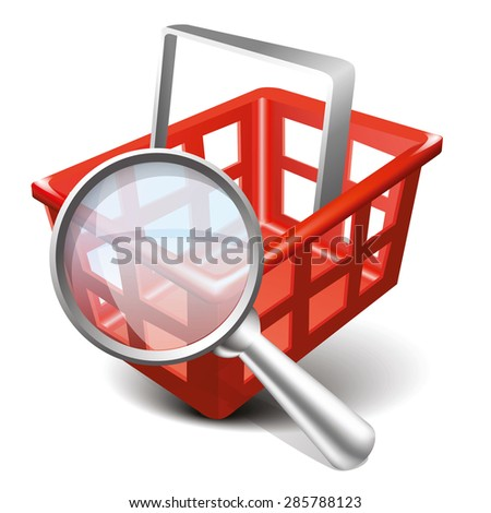 Vector Shopping Red Cart and Magnifying Glass Icon. Modern design 3d style icon, isolated on white background - stock vector