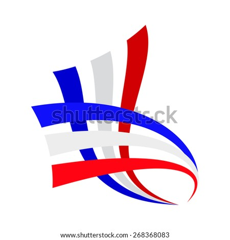 Vector sign abstract french and english flag - stock vector