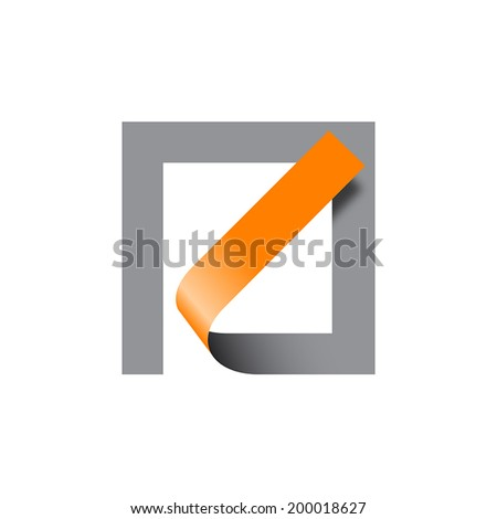 Vector sign abstract shape. Tape in a square - stock vector