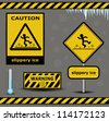 vector sign caution slippery ice warning collection - stock vector