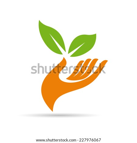 Vector sign friendly environment, hand and leaf - stock vector