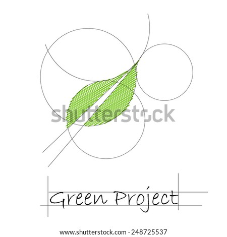 Vector sign green project  - stock vector