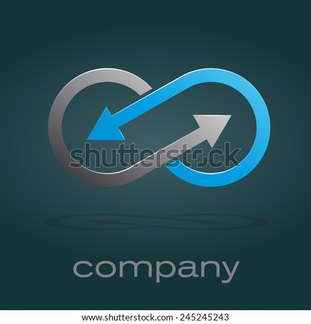 Vector sign infinite with arrows. Teamwork - stock vector