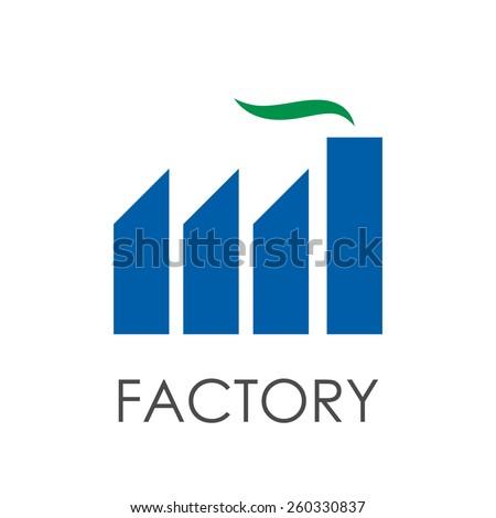 Vector sign modern green factory - stock vector