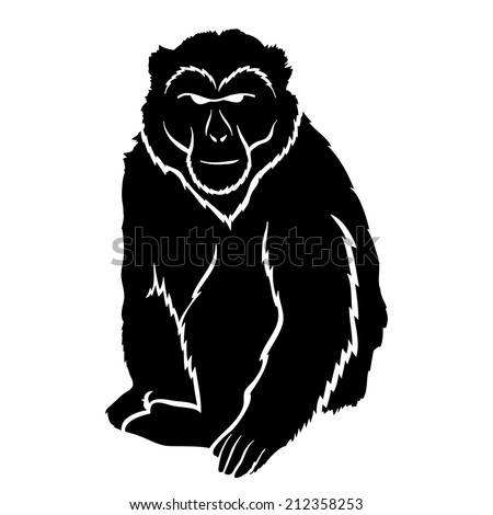 Vector sign. Monkey isolated on white. - stock vector