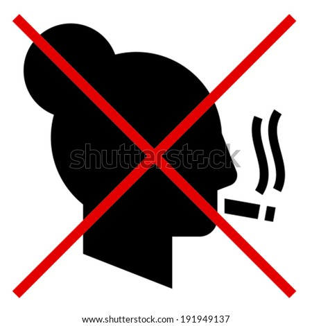 Vector sign of crossed out woman's profile smoking cigarette - stock vector