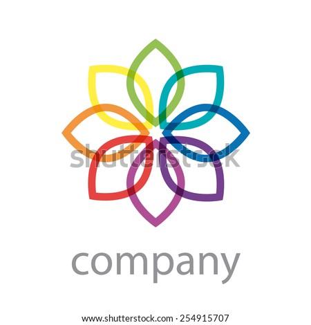 Vector sign rainbow flower, abstract shape  - stock vector