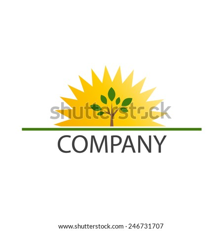 Vector sign sun and tree - stock vector