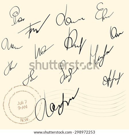 Vector Signature fictitious Autograph on white background - stock vector