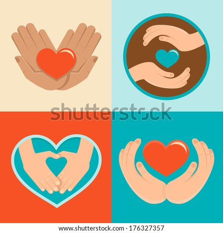 Vector signs and symbols in flat style - symbols of love and care for charity organizations and volunteers - stock vector