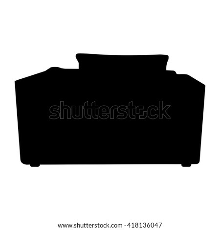 Vector silhouette black Sofa  isolated on white background. object armchair in room  - stock vector