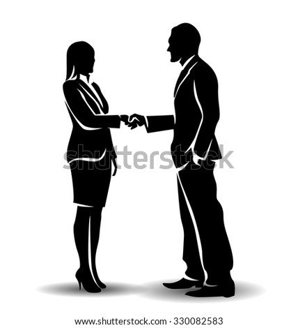 vector silhouette businessman and businesswoman - stock vector