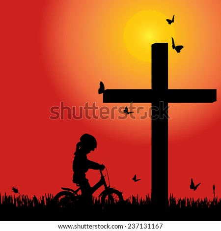 Vector silhouette girl at the cross at sunset. - stock vector
