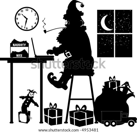 vector silhouette graphic depicting Santa Claus, at his laptop, making a list - stock vector