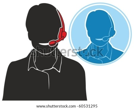 Vector silhouette icon of support phone operator in headset. - stock vector