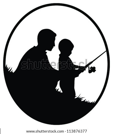 Vector silhouette illustration of a father and son fishing in oval frame - stock vector