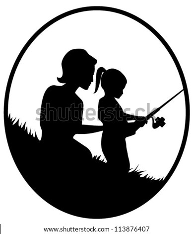 Vector silhouette illustration of a mother and daughter fishing in oval frame - stock vector