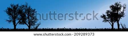 Vector silhouette landscape with trees along the beautiful days. - stock vector