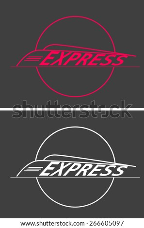 vector silhouette modern express train on gray background - stock vector