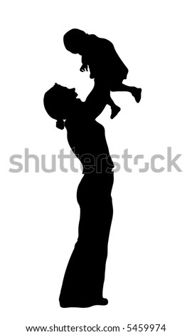 vector silhouette mother with baby - stock vector
